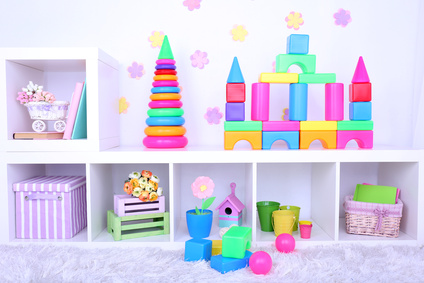 Colorful plastic toys in children room