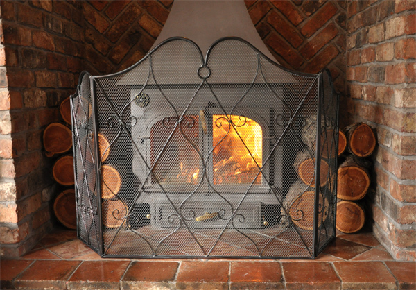 Heart Scroll Fire Screen - Cast in Style