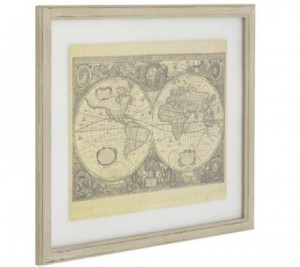 World Map Picture with Antique Taupe Frame - Artisanti