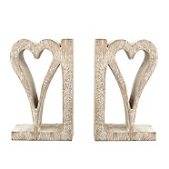 Hand carved wooden heart bookends - Debenhams