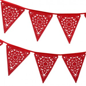 red fabric garland - bahloohlahbunting