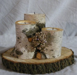 White birch log candle holder - gftwoodcraft