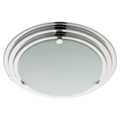 stylish iP44 flush bathroom ceiling light with chrome rings - haysom interiors