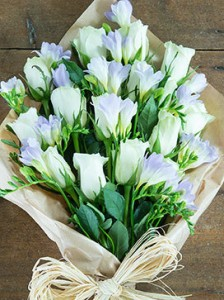white roses and lilac freesias - flowers direct