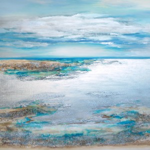 Crystal Clear Horizon 100 x 100 cm with clear crystal quartz and Swarovski Crystals Seascape by Louise Brooks