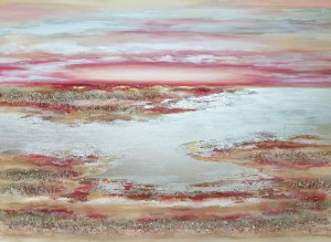 Sunset for all Seasons 120 x 100 cm with Rose Quartz and Swarovski Crystals Seascapes by Louise Brooks