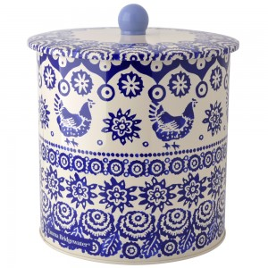 Blue hen and border biscuit barrel - emma bridgewater