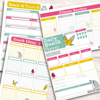 printable health and fitness planner - notonthehighstreet.com