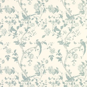 summer palace off white/duck egg blue wallpaper - laura ashley