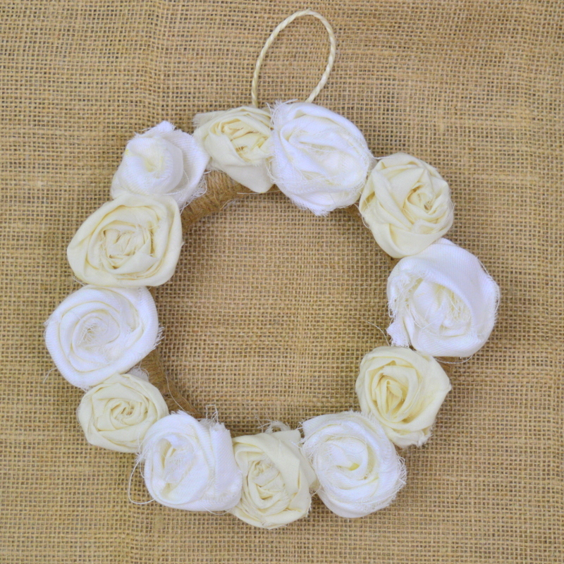 fabric flower wreath decoration