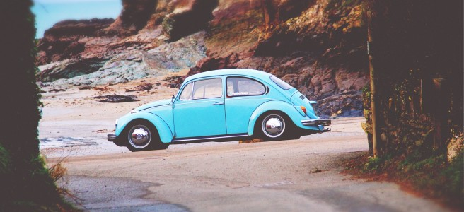 VW Beetle on beach