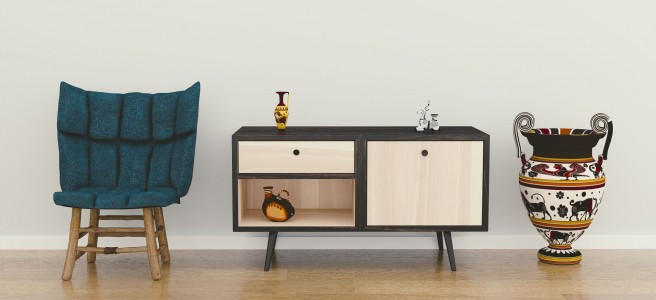 interior room sideboard armchair display
